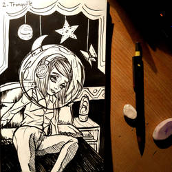 Tranquil in the bubble - INKTOBER DAY 2 by TheLuckiness