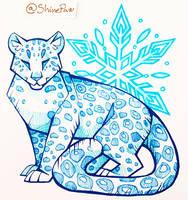 Snow Leopard pen sketch by ShinePawArt
