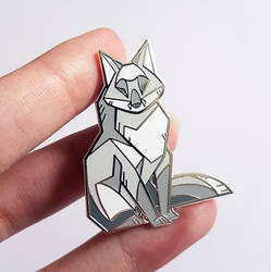 Silver Fox Enamel Pins on Etsy by ShinePawArt