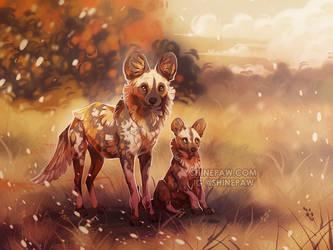 African Wild Dogs by ShinePawArt