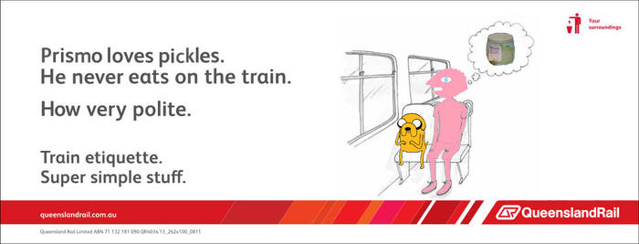 Adventure Time Prismo Queensland Rail etiquette by madme2013