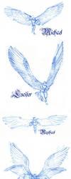 Four Archangels - sketches by CrocInCrocs