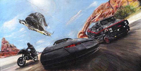 Knight Rider/A-Team/Airwolf/Streethawk Art by solman1