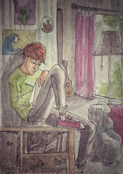 boy drawing  by Zeena-h