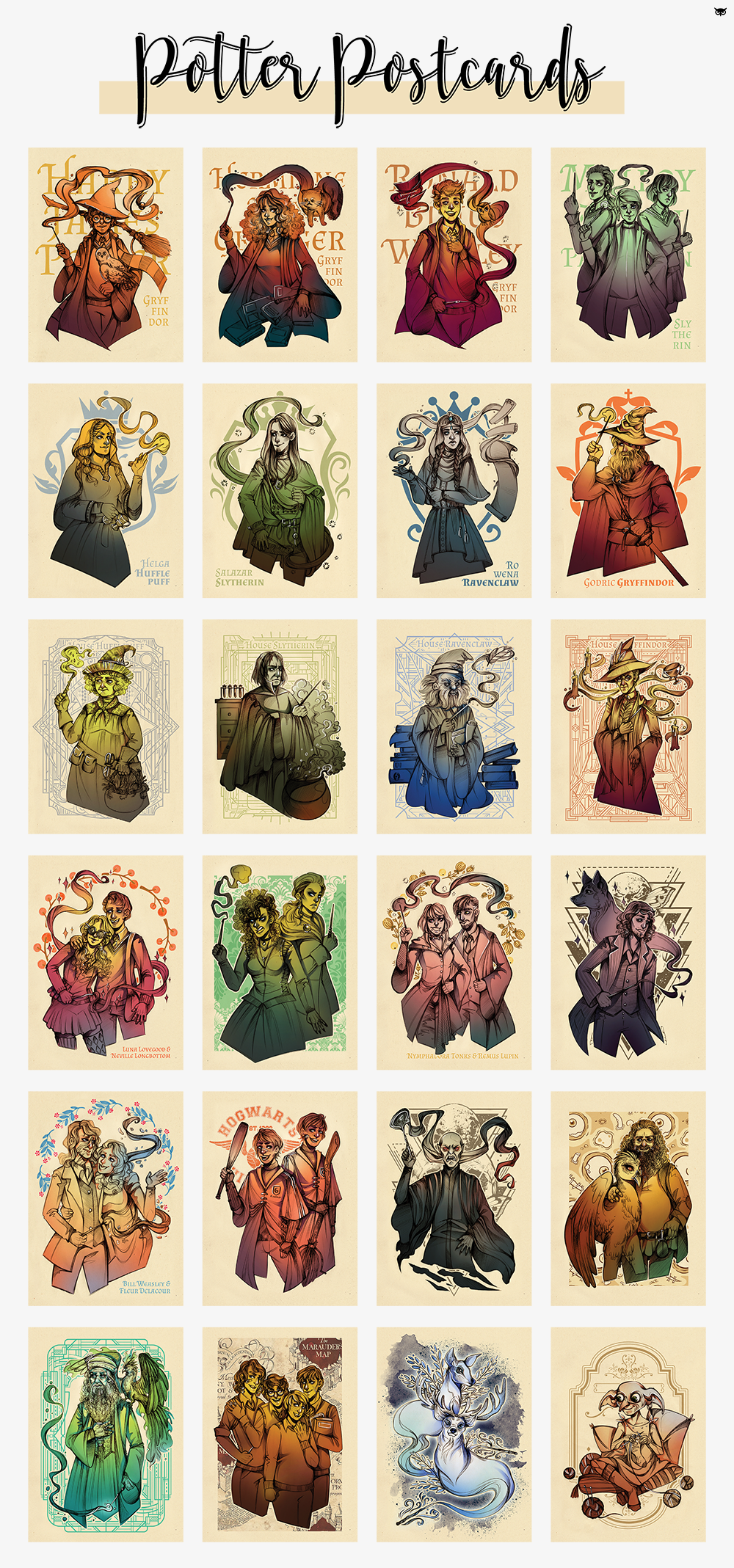 Harry Potter Postcards by MadBlackie