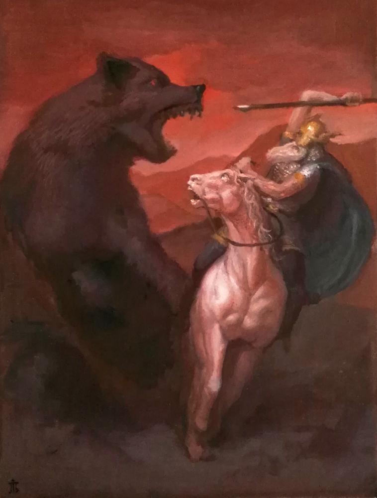 Fenrir and Odin by Exidelo