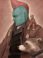 Yondu and Rocket and Groot by J-666