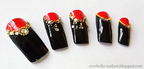 Stylish Nail Art Desgin w Rhinestones n beads by everbella