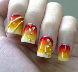 Fall colors Nail Art Design by everbella