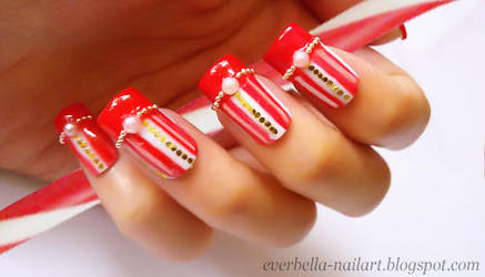 Candy Cane Sweet and Cute Nail Art Design by everbella