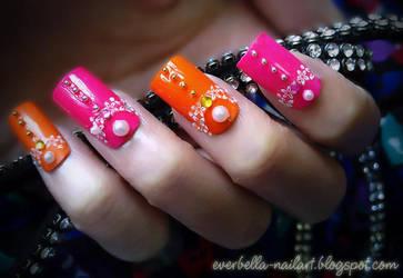 Orange n Hot Pink Nail Art Design w decals by everbella