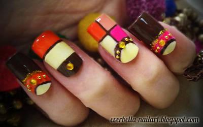 Color Blocking Nail Art Design by everbella