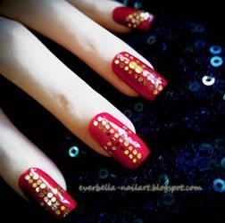 Golden Wine Sparkle Nail Art Design by everbella