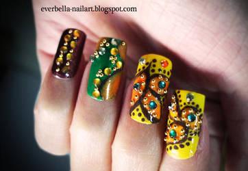 Yellows n Greens Nail Art Design by everbella