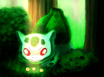 Bulbasaur in a forest by Hot-dog-cat