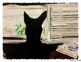 Molly in the window by EsBest