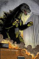 Godzilla vs Dayton OH colored by ragelion
