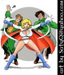 Power Girl slugs the thugs by SatyQ
