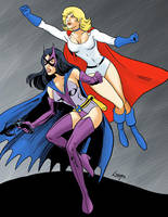Huntress and Power Girl - Classic Earth 2 by SatyQ