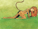 Tigra in grass (color pencil and ink) by SatyQ