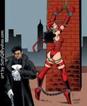 Elektra bound by Punisher by SatyQ