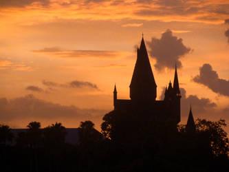 Hogwarts Castle at Sunset by arivanna