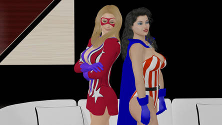 Femforce Pinup with Miss Victory and Yankee Girl by Sleeper77