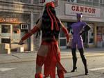 Elektra Vs Catwoman by TinOmenOgre