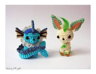 Chibi Vaporeon and Leafeon Amigurumi by LeFay00