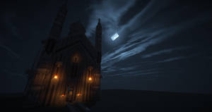 Minecraft Castle at Night Computer Background by 567legodude