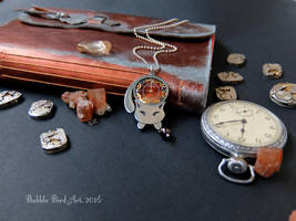 Pepper the Cat - steampunk pewter pendant by IkushIkush