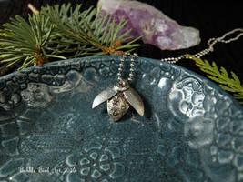Steampunk beetle - fine silver handmade pendant by IkushIkush
