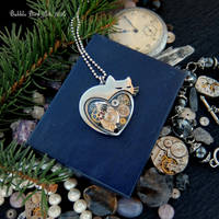 Kitty in love - handmade steampunk pendant by IkushIkush