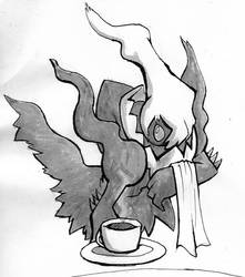 Inktober 2017 Darkrai Cafe by papersak