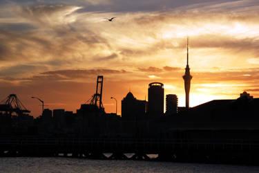 Sunset over Auckland CBD.. by renedox