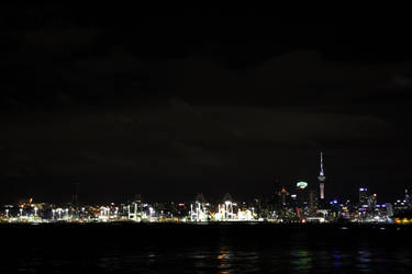 Night view of Auckland CBD from Devonport.. by renedox