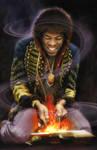 Jimi Hendrix on Fire by Cynthia-Blair