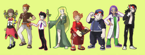 Commission - Yondaime22 Gym leaders by Cid-Fox