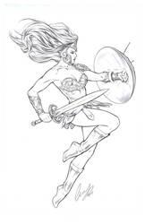 Warrior Woman pencils by Elias-Chatzoudis