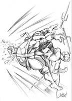 Rapael vs Bruce Lee by acook