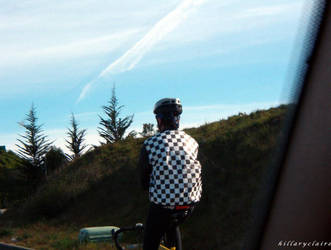 checkered bicyclist by twoazaleas