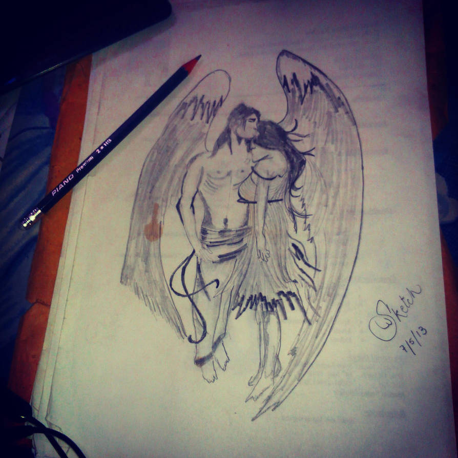 Fallen angels love pencil sketch by syedtheartist