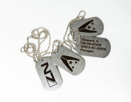 Mass Effect dog tags by Katlinegrey