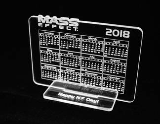 Mass Effect table calendar 2018 by Katlinegrey