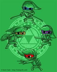 Teenage Elven Ninja Heroes - TMNT Zelda Mashup by halegrafx