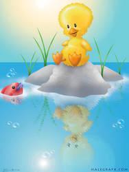 Little Duck at the Pond by halegrafx