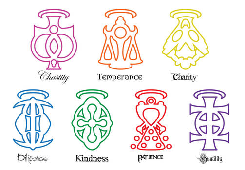 My 7 virtues symbols by LarsJack