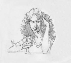 Study of woman at bar by Eyth