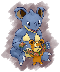 nidoqueen and teddiursa by Pyritie