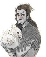Gladio with a chocobo chick by CrowningCrow